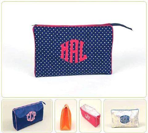 Monogrammed Ziptop Cosmetic Case, Medium