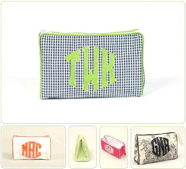 Monogrammed Ziptop Cosmetic Case, Small