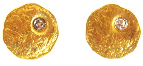 Gold Plated & Crystal Button Earrings