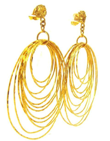 Dangling Gold Plated Hoop Earrings