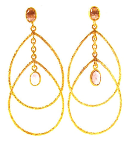 Tourmaline & Gold Plated Teardrop Earrings