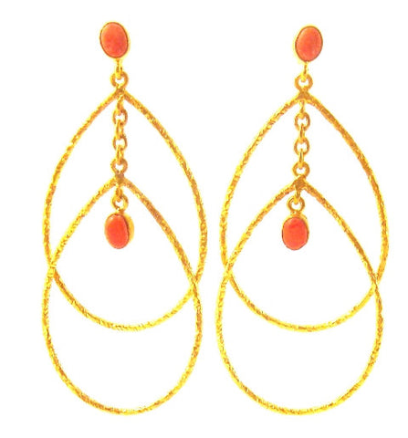 Coral & Gold Plated Teardrop Earrings