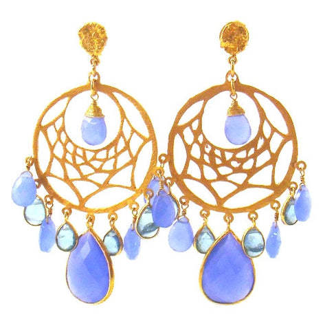 Blue Chalcedony & Apetite Gold Plated Chandelier Earrings