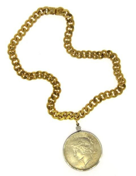 Vintage Silver Coin & Link Necklace