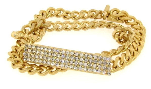 Crystal & Golden Double Wrap ID Bracelet, Narrow