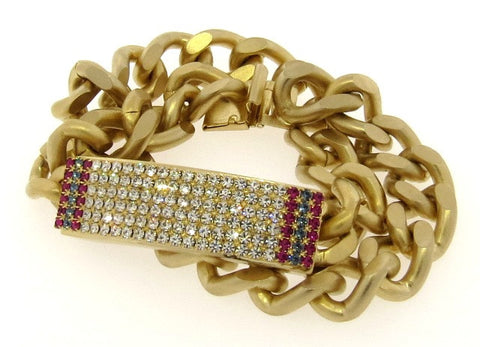 Gold Chain & Colored Crystal Double Wrap ID Bracelet, Wide