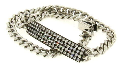 Crystal & Silver-tone Double Wrap ID Bracelet, Narrow