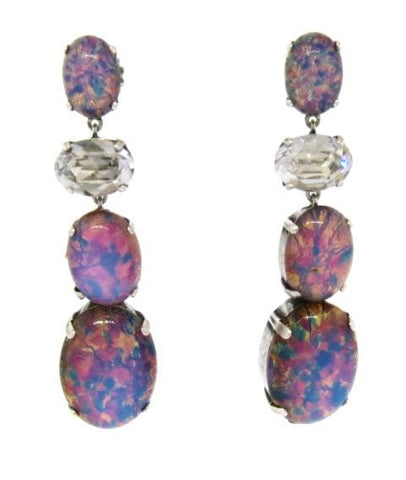 """Opal"" & Crystal Drop Earrings"