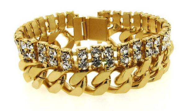 Wide Crystal & Golden Chain Link Bracelet