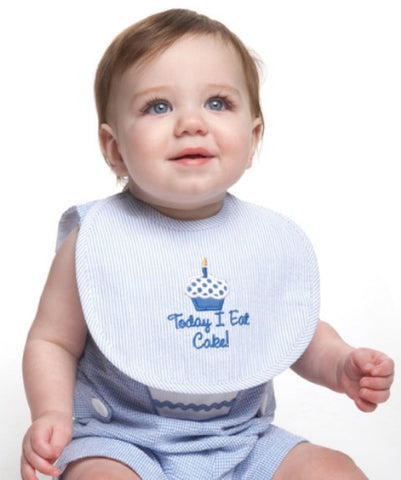 Blue Seersucker Birthday Bib