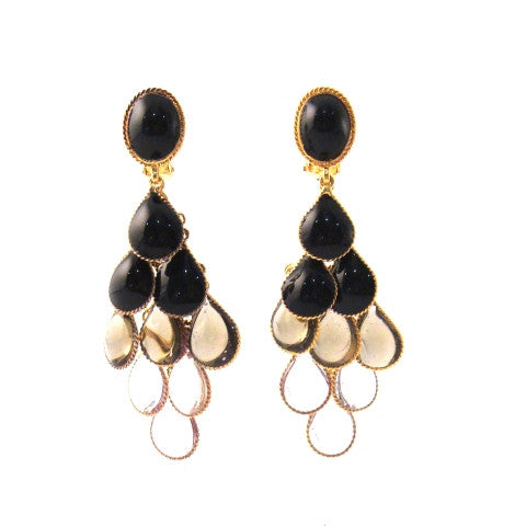 William Earrings, Shades of Black & Clear
