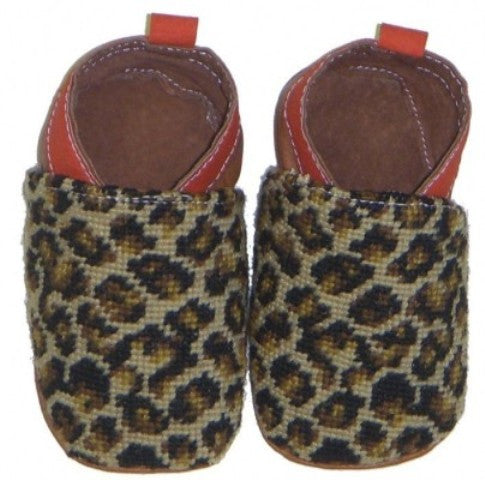 Leopard, Needlepoint Baby Shoes (0-6 mo)