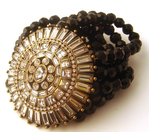 Vintage-Inspired Crystal & Black Bead Stretch Bracelet