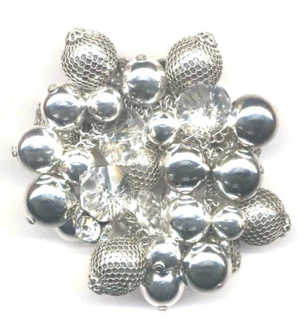 """Jude"" Crystal & Silver Ball Stretch Bracelet"