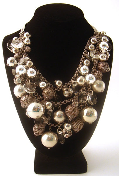 """Jude"" Crystal & Silver Ball Bib Necklace"
