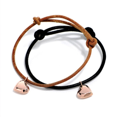 Heart Charm Knotted Bracelet, Rose Gold
