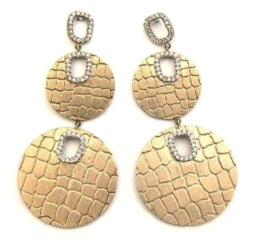 """Crocodile"" & Diamond Double Earrings"