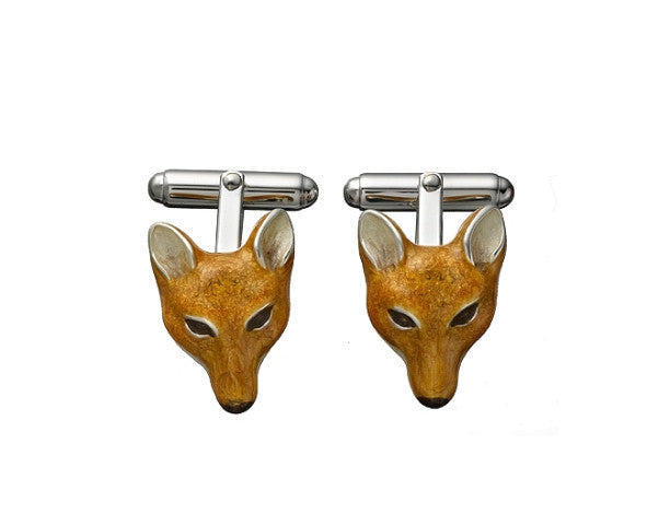 Fox Enamel & Sterling Cufflinks