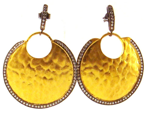 Crystal & Hammered Gold Vermeil Earrings
