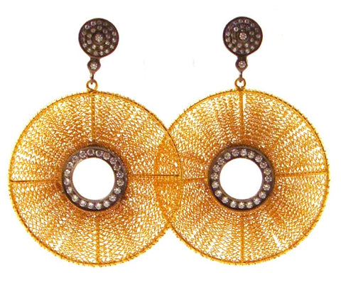Mesh & Crystal Disk Earrings