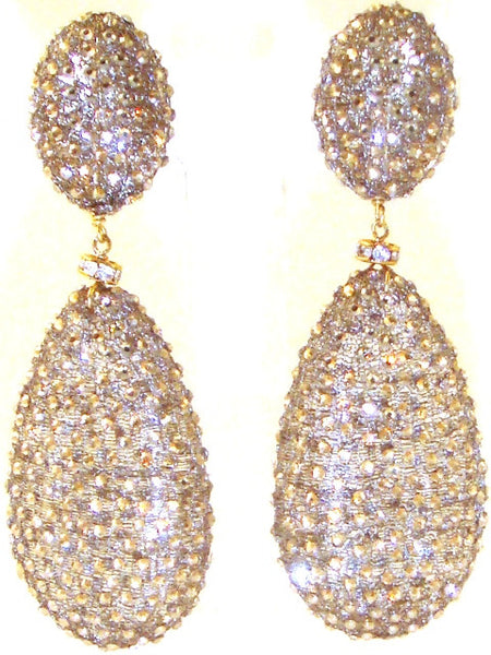 "Golden Mesh & ""Topaz"" Crystal Earrings"