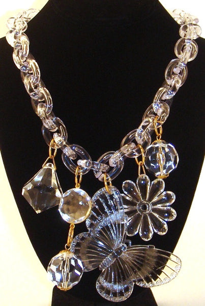 Lucite Chunky Charm Necklace