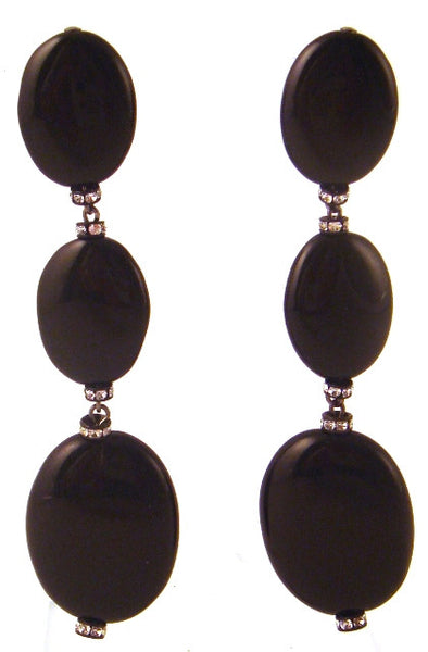 Black Onyx & Crystal Triple Drop Earrings