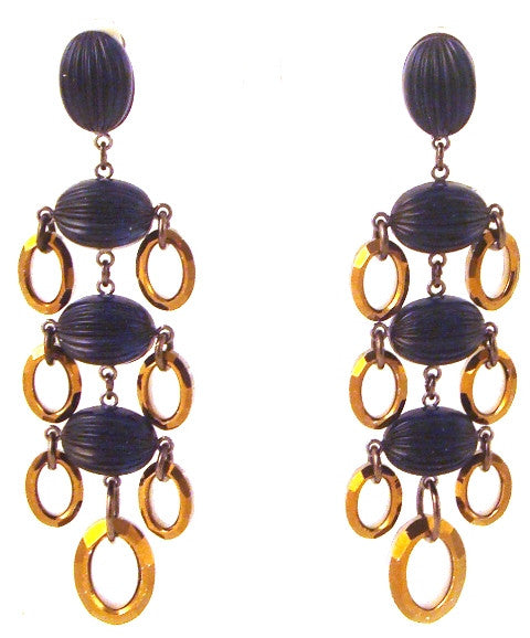 Sapphire Blue & Gold Disk Chandelier Earrings