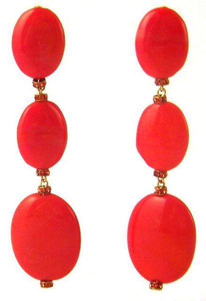 Red Coral & Crystal Triple Drop Earrings