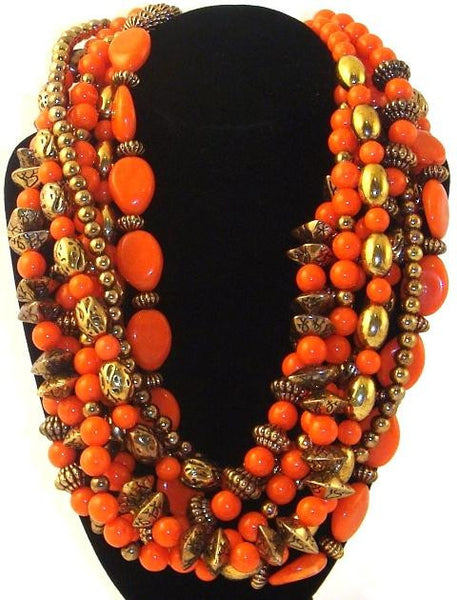 Multi-Strand Coral Necklace