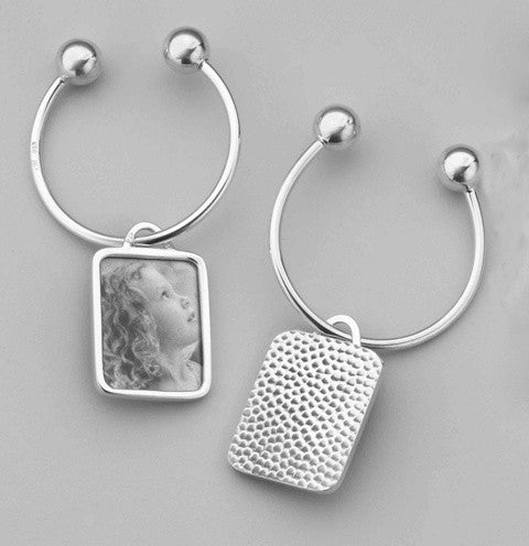 Sterling Key Chain with Image Case in Hammered Pattern