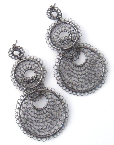 Hanging Mesh Earrings, Gunmetal