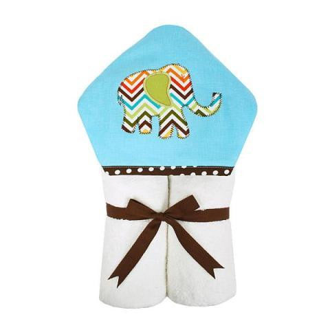 "Blue Elephant Zig Zag Hooded ""Everykid"" Towel"