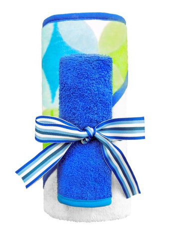 Bubbles Hooded Towel Set, Cobalt Blue