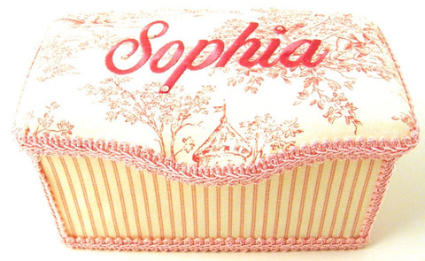 Personalized Baby Wipe Case, Pink Toile (Nursery Size)