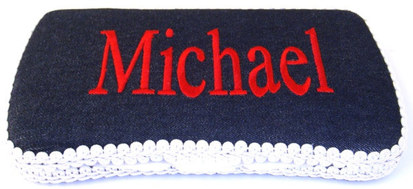 Personalized Baby Wipe Case, Denim (Travel Size)