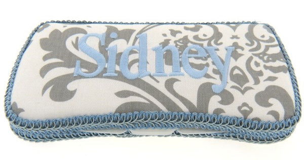 Personalized Baby Wipe Case, Gray Damask (Travel Size)