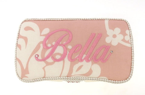Personalized Baby Wipe Case, Pink Damask (Travel Size)