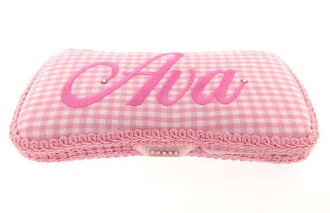 Personalized Baby Wipe Case, Pink Gingham (Travel Size)