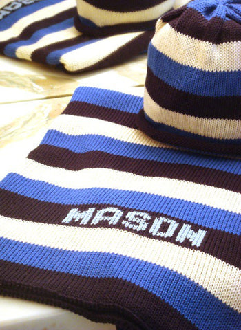 Personalized Stripe Stroller Blanket & Hat Set