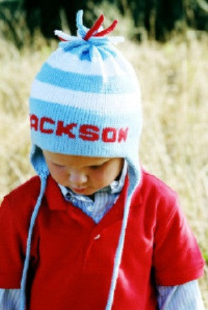 Personalized Stripe Earflap Hat (Children s) · MJK KNITS 3953762c100