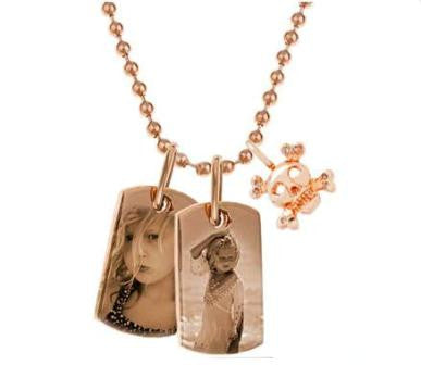 Personalized Rose Gold Dog Tags & Diamond Skull Charm Necklace