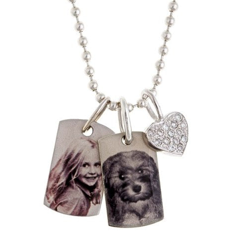 Personalized Silver Dog Tags & Diamond Heart Charm Necklace