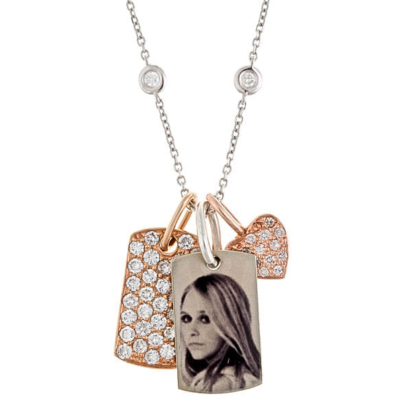 Personalized Diamond Gold & Silver Dog Tags with Heart Charm Necklace