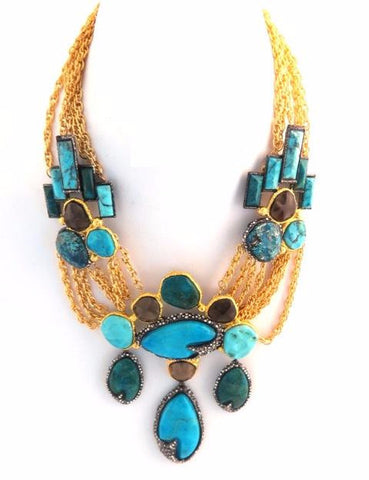Cordova Gold & Antique Rhodium Statement Necklace