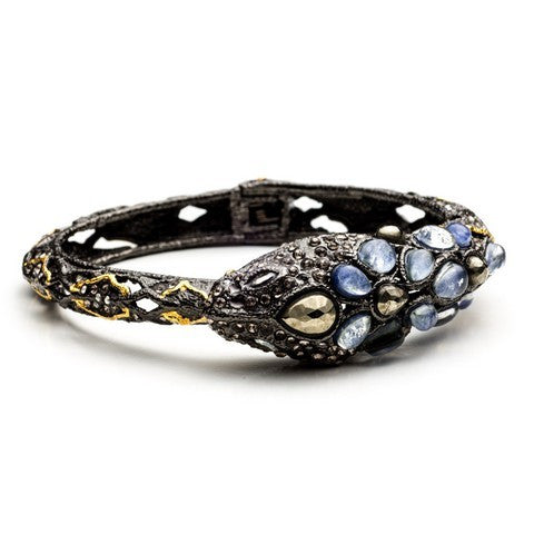 Ruthenium & Gold Snake Bangle