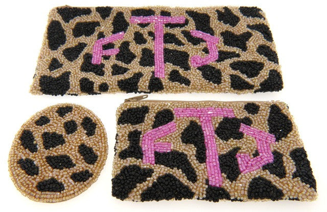 Monogrammed Beaded Cosmetic Bag & Mirror Set, Giraffe Pattern
