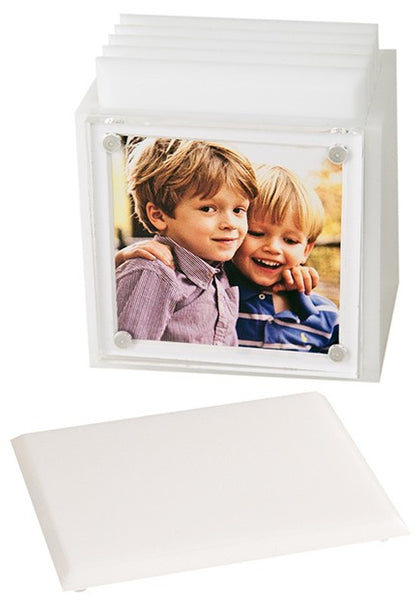 Photo Lucite Coaster Set, White