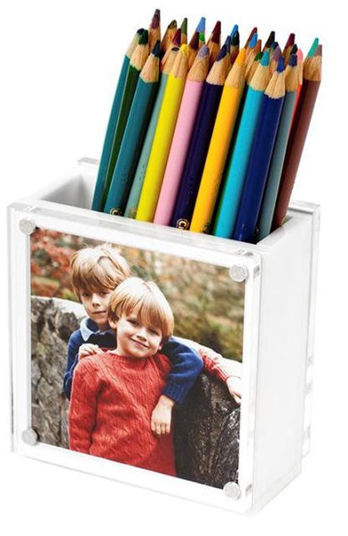 Photo Lucite Pen Holder, White