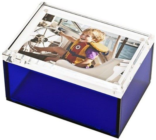 Photo Lucite Box, Sea Glass Blue (Medium)